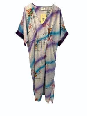 Vintage sarisilk Pernille dress Blue/Lilac Onesize