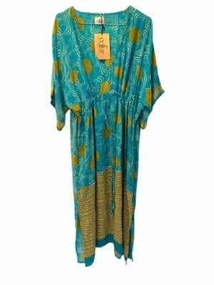 Vintage sarisilk Pernille dress turquoise/curry Onesize