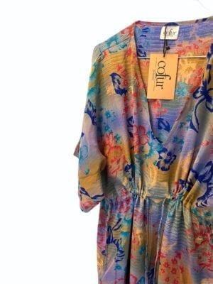 Vintage sarisilk Pernille dress Tropical flowers Onesize