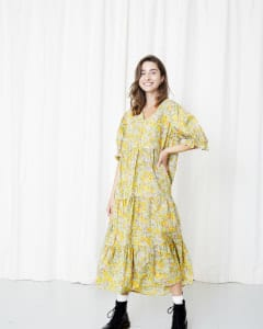 Nellie Dress Yellow floral