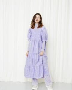 Esther Dress Lavender checked