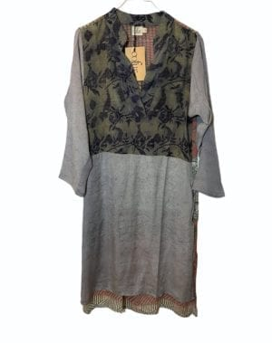 Vintage sarisilk shirtdress Soft Grey mix S/M