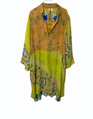 Vintage sarisilk shirtdress lemon flower mix 2XL