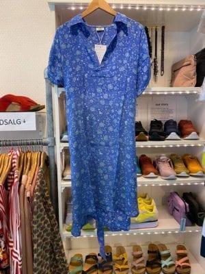 Vintage sarisilk shirtdress short/sl Blue XL