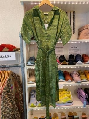 Vintage sarisilk shirtdress short/sl Green XL