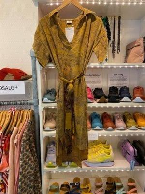 Vintage sarisilk shirtdress short/sl Mustard M/L