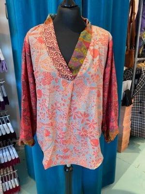 V-neck shirt sarisilk M/L Pink mix
