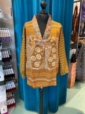 V-neck shirt sarisilk M/L Orange mix