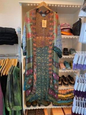 Vintage sarisilk Long XL kimono blue multi mix Onesize