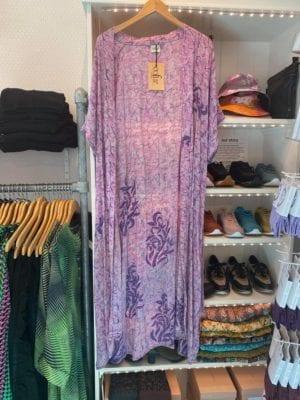 Vintage sarisilk Long kimono lilac cut sleve Onesize