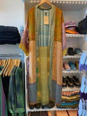 Vintage sarisilk Long XL kimono pastel multi mix Onesize