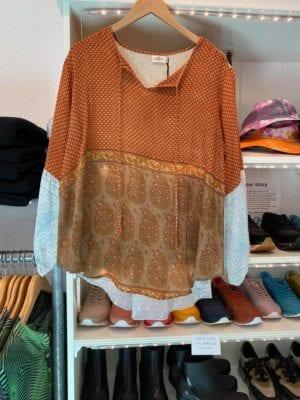 Jaipur shirt sarisilk M/L Toffee/babyblue