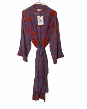 Vintage sarisilk LONG Dubai kimono lilac orange dot Onesize