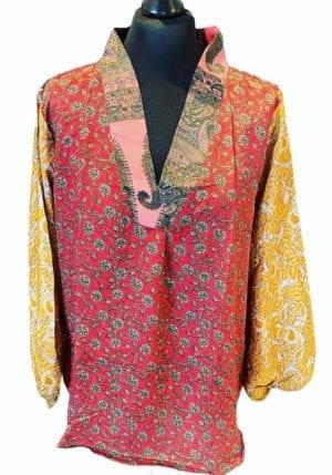 V-neck shirt sarisilk M/L multi mix