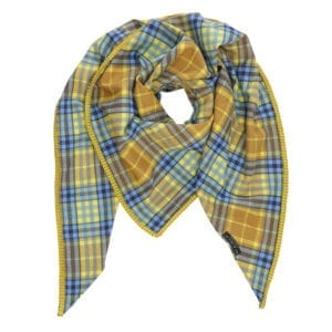 Oversize Scarf Checks Blue satin