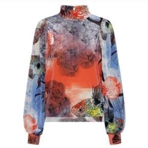 Wanda Velour blouse Fish print