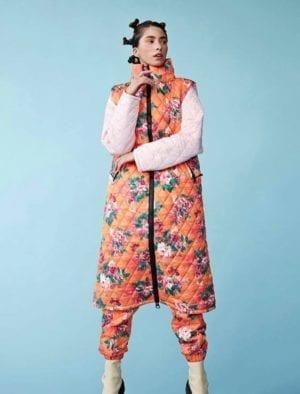 Lilia Long vest orange floral