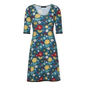 Stella Dress Retro flowers Petrol
