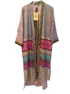 Vintage sarisilk Long kimono pale lavender mix Onesize