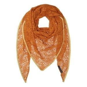 MANIA Oversize scarf lace soft orange