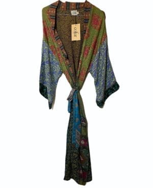 Vintage sarisilk Long XL kimono olive multi mix Onesize