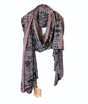 Vintage sarisilk Oversize scarf/sarong 13 Purple/rose/mint
