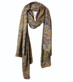 Vintage sarisilk Oversize scarf/sarong 11 Golden flower