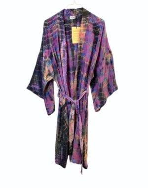 Vintage sarisilk Dubai kimono Dip dye lilla Onesize