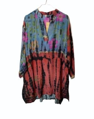 Vintage sarisilk shirtdress multi dip dye 2XL