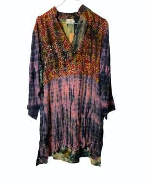 Vintage sarisilk shirtdress multi dip dye M/L