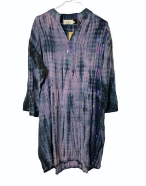 Vintage sarisilk City dress lavender Dip Dye XL