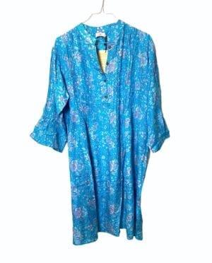Vintage sarisilk City dress turkis blomst M/L