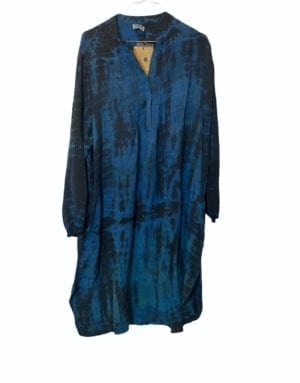 Vintage sarisilk City Shirtdress blue Dip Dye M/L