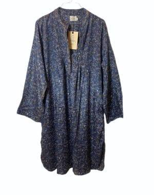 Vintage sarisilk City Shirtdress Blue petit Fleur M/L