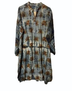 Vintage sarisilk City Shirtdress Grey flower Dip Dye M/L