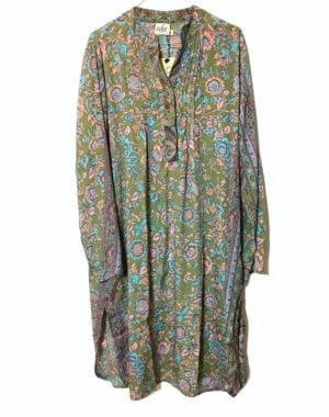 Vintage sarisilk City shirtdress olive XL