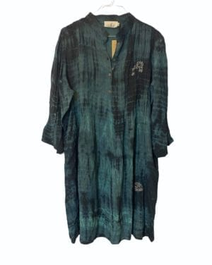 Vintage sarisilk City dress petrol Dip Dye M/L