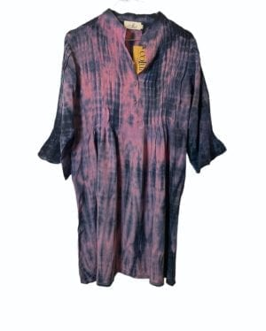 Vintage sarisilk City dress rose Dip Dye M/L