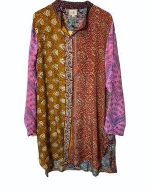 Vintage sarisilk Big shirt patchwork pink sl, 2XL