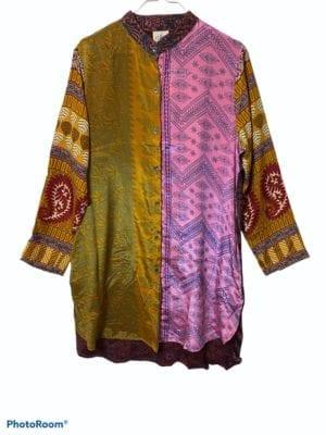 Vintage sarisilk Big shirt patchwork mustard sl, M/L