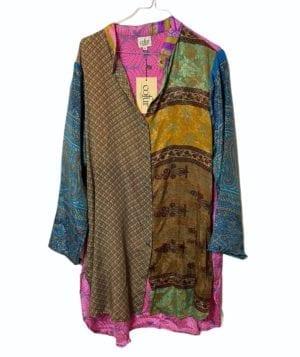 Vintage sarisilk Big shirt patchwork petrol sl,XL
