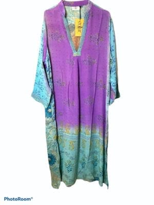 Vintage sarisilk Goa maxidress aqua/purple M/L