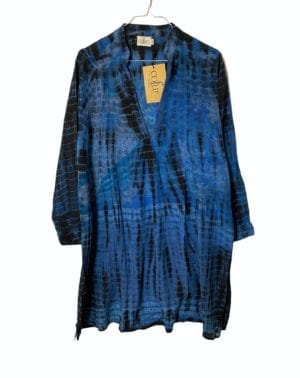 Vintage sarisilk Goa short dress blue dip dye M/L