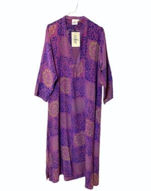 Vintage sarisilk Goa maxidress dusty purple M/L