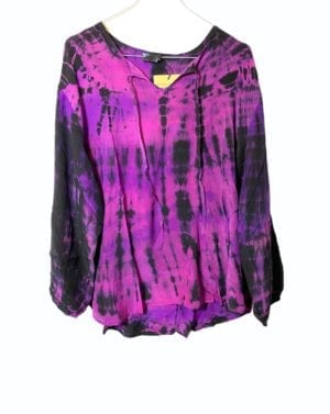 Jaipur shirt sarisilk 2XL Dip dye lilla