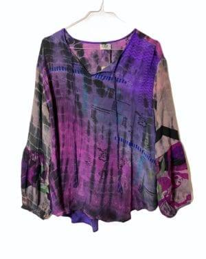 Jaipur shirt sarisilk XL Dip dye mix lilla