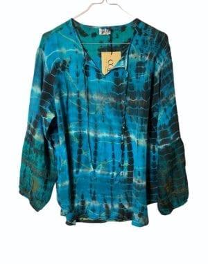 Jaipur shirt sarisilk M/L Dip dye Turkis