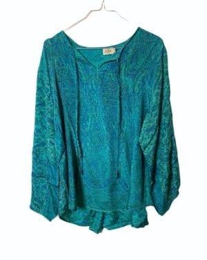 Jaipur shirt sarisilk M/L paisley Turkis