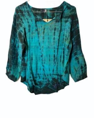Jaipur shirt sarisilk S/M Dip dye Turkis