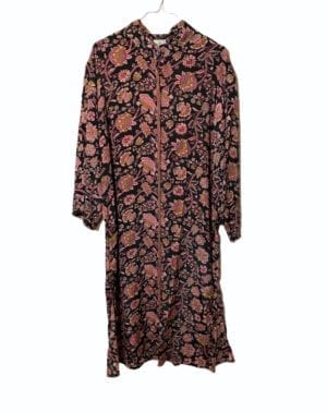 Vintage sarisilk Long kaftan dress Black rose